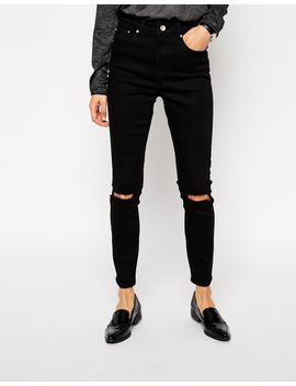 asos-ridley-skinny-ankle-grazer-jeans-in-clean-black-with-busted-knees by asos-collection