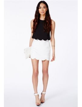 orlina-black-scallop-layered-mini-dress by missguided
