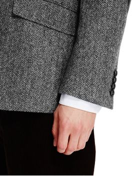 pure-new-wool-tailored-fit-2-button-herringbone-jacket by marks-&-spencer