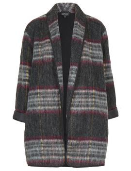 fluffy-wool-check-duster-jacket by topshop