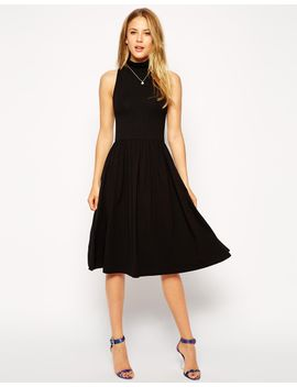 asos-midi-skater-dress-with-polo-neck by asos-collection