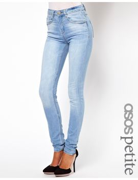 asos-petite-ridley-high-waist-ultra-skinny-jeans-in-ice-blue-vintage-wash by asos-petite