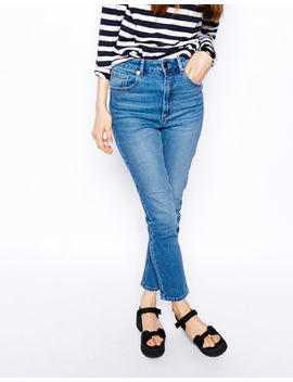 asos-farleigh-high-waist-slim-mom-jeans-in-mid-wash-blue by asos-collection