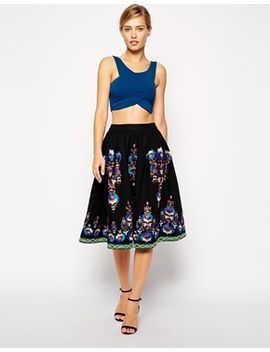 asos-premium-midi-skirt-with-embroidered-hem by asos-collection