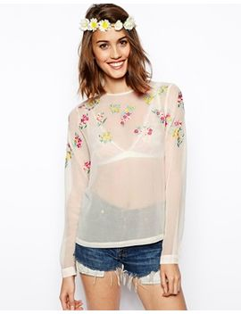 asos-long-sleeve-embroidered-top by asos-collection