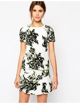 warehouse-giant-floral-crepe-co-ord-tee by warehouse