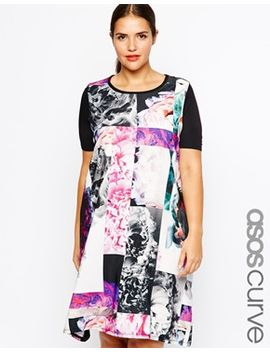 asos-curve-t-shirt-dress-in-mono-photographic-floral by asos-curve