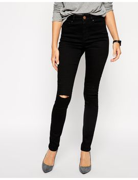 asos-ridley-skinny-jeans-in-clean-black-with-ripped-knees by ultra-skinny-jeans