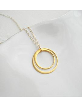 two-circles-necklace-gold-geometric-jewelry,-love-circles-gold-pendant,-modern-minimalist-jewelry,-lovers-gift-for-her by anechkasjewelry