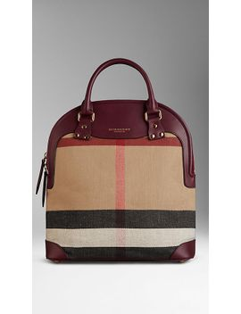 the-medium-bloomsbury-in-canvas-check-and-leather by burberry