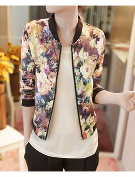 floral-print-long-sleeve-stand-up-collar-zipper-closure-jacket-for-women by sammy-dress