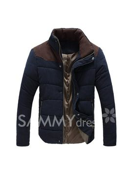 korean-style-color-block-thicken-stand-collar-slimming-long-sleeves-polyester-coat-for-men by sammy-dress