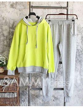 Досуг-стиль-Комплект-одежды-для-женщин-с-контрастной-отделкой(толстовка-+-брюки)-Толстовка-с-капюшоном,-карманами-и-длинными-рукавами by sammy-dress