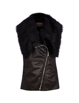black-faux-fur-lined-gilet by river-island
