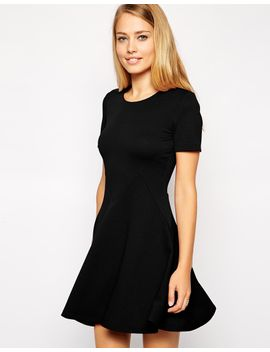 asos-skater-dress-with-textured-seam-detail-and-short-sleeves by asos-collection