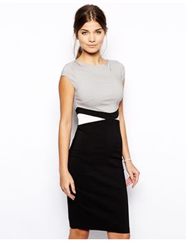 vesper-ayla-pencil-dress-with-waist-panel-contrast by dress