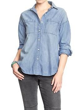 womens-boyfriend-chambray-button-front-shirts by old-navy