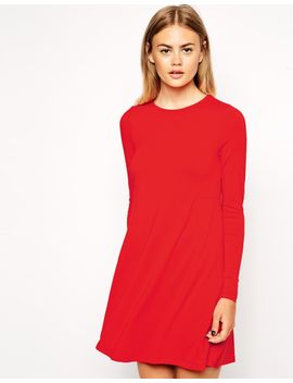 asos-swing-dress-with-seam-detail-with-long-sleeve by asos-collection