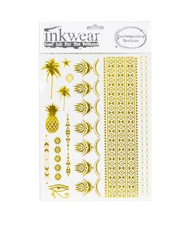 gold-foil-tropical-tattoos by topshop