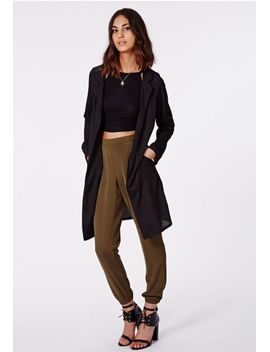 rhea-lightweight-longline-blazer-black by missguided