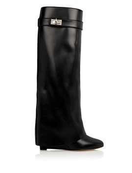 shark-lock-wedge-knee-boots-in-black-leather by givenchy