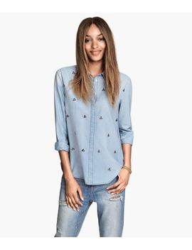 denim-shirt-with-rhinestones by h&m