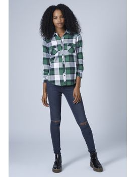 petite-long-sleeve-check-shirt by topshop