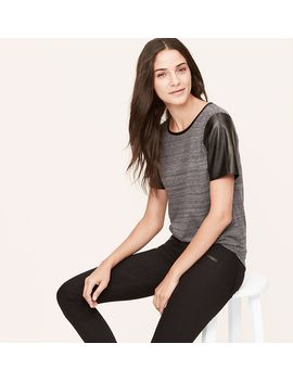petite-spacedye-faux-leather-sleeve-tee by loft