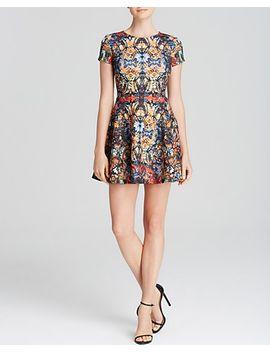 dress---sunrise-kaleidoscope-scuba-cap-sleeve by aqua