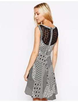 liquorish-skater-dress-with-lace-back-in-geometric-print by liquorish
