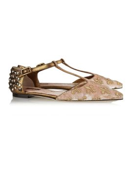 embellished-velvet-and-metallic-leather-point-toe-flats by dolce-&-gabbana