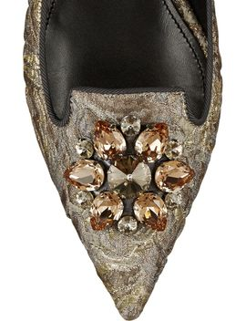 bellucci-embellished-macramé-point-toe-flats by dolce-&-gabbana