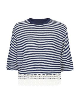 lace-hem-stripe-top by topshop