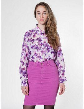 stretch-bull-denim-high-waist-slim-skirt by american-apparel