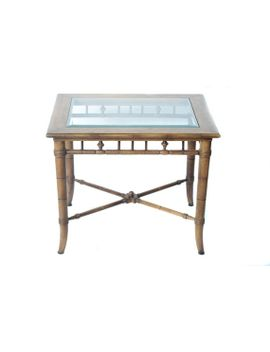 faux-bamboo-walnut-wood-and-glass-vintage-end-side-accent-nightstand-table by solomarket