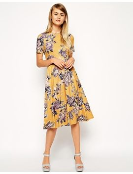 asos-midi-skater-dress-in-tapestry-floral-print by asos-collection