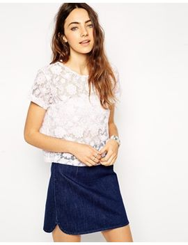 asos-shell-top-in-printed-lace by asos-collection