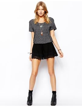 asos-jersey-culotte-shorts-with-lace-hem by asos-collection