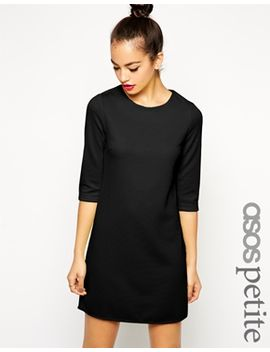 asos-petite-shift-dress-in-textured-rib-with-3_4-length-sleeves by asos