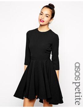 asos-petite-skater-dress-with-full-dipped-hem-skirt-and-3_4-sleeve by asos-petite