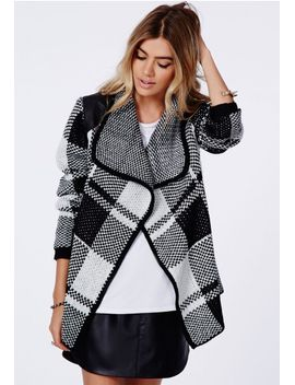 asma-chunky-knit-check-cardigan-monochrome by missguided