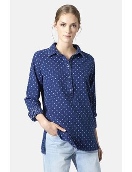 moto-double-faced-print-cotton-pullover-shirt by topshop