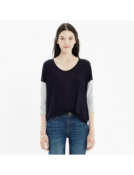 scoopneck-roster-tee-in-colorblock by madewell