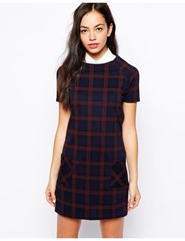 new-look-check-print-shift-dress-with-pockets by new-look