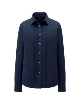 women-supima-cotton-stretch-pin-tuck-long-sleeve-shirt by uniqlo