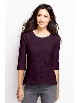 womens-3_4-sleeve-lace-front-top by lands-end