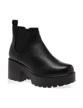 my1stwish-womens-mid-chunky-heel-platform-chelsea-ankle-boots-black-pu-size-5 by my1stwish