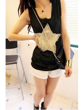 east-knitting-c98-fashion-new-metallic-shiny-sequined-women-star-pattern-transparent-chiffon-sleeveless-vest-tank-tops-black by ali-express
