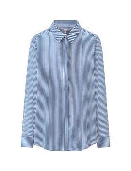 women-silk-print-long-sleeve-blouse by uniqlo