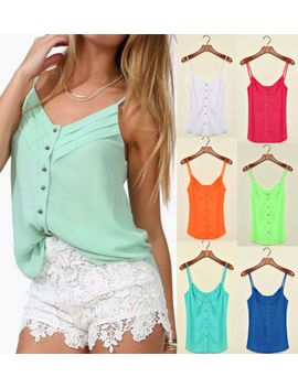 summer-women-v-neck-candy-spaghetti-shirt-chiffon-blouse-strap-hot-top-vest-tank by unbranded